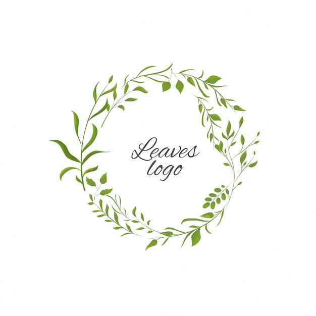 Logotipo con foglie Vettore Premium