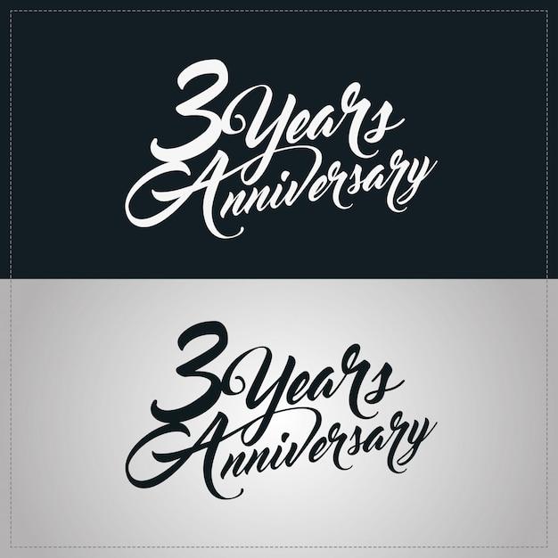 Logotipo di 3 anni anniversario celebrazione Vettore Premium
