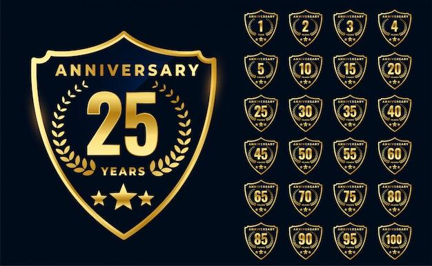 Logotipo di anniversario dorato premium design della grande collezione Vettore gratuito
