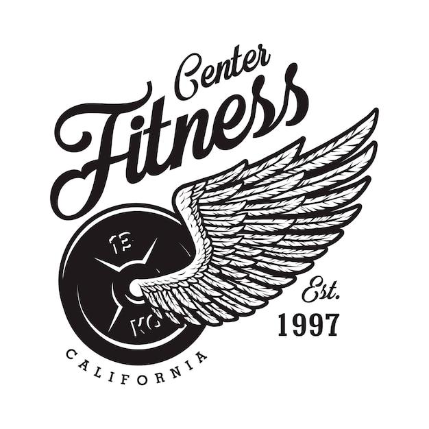 Logotipo di fitness monocromatico con iscrizione di ala di aquila peso Vettore Premium