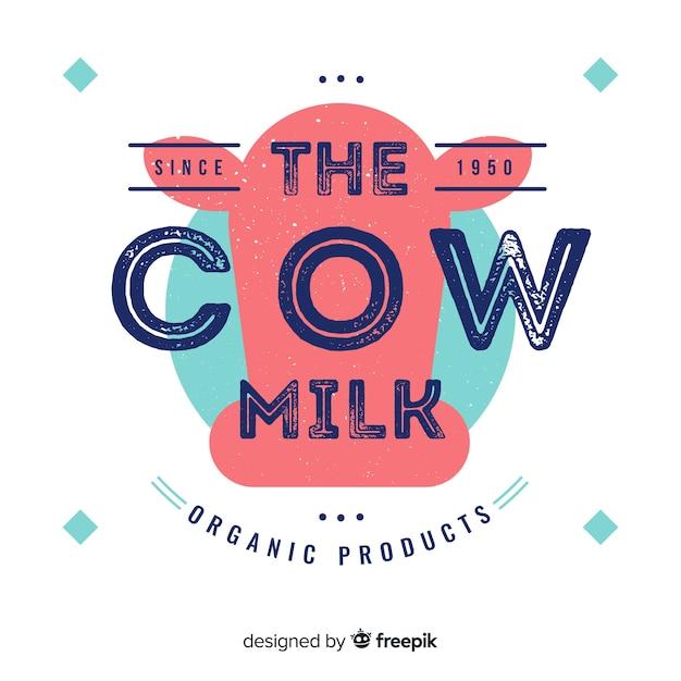 Logotipo di latte biologico Vettore gratuito