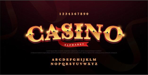 Logotipo di lusso 3d alfabeto oro casinò Vettore Premium