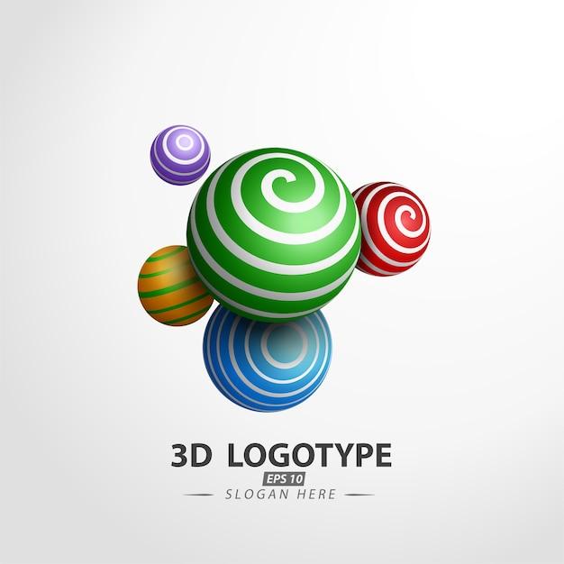 Logotipo di palla decorativa multicolore Vettore Premium
