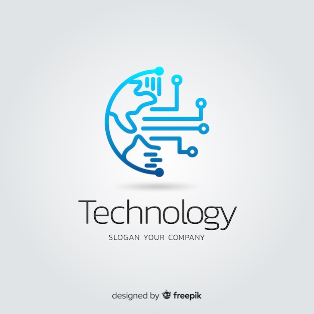 Logotipo di società di tecnologia astratto gradiente Vettore gratuito
