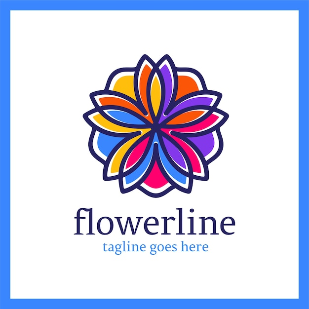 Logotipo flower line. ornamento di loto reale Vettore Premium