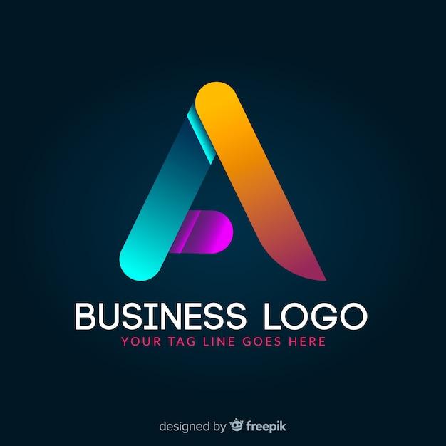 Logotipo geometrico colorato incandescente gradiente Vettore gratuito