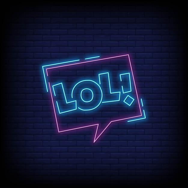 Lol lettering insegne al neon Vettore Premium