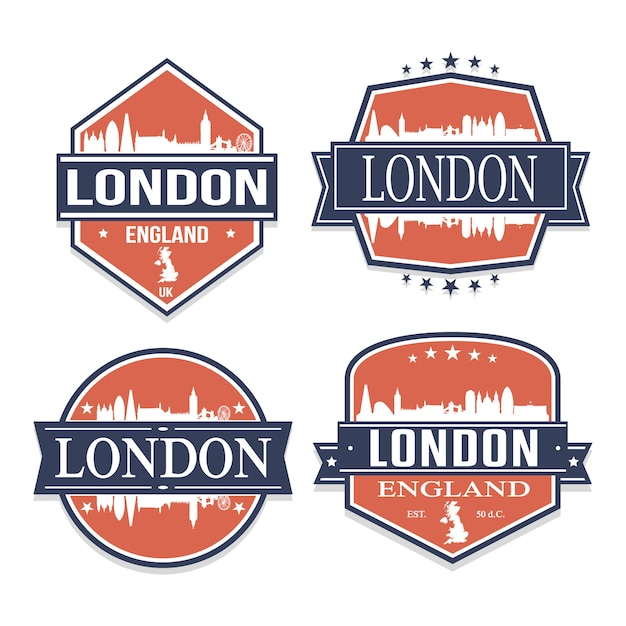 Londra inghilterra regno unito set di viaggi e business stamp designs Vettore Premium