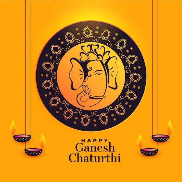 Lord ganesha artistico per ganesh chaturthi festival Vettore gratuito