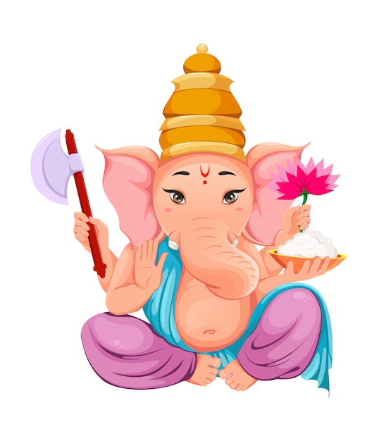 Lord ganesha. idolo di ganpati in abiti tradizionali indiani Vettore Premium