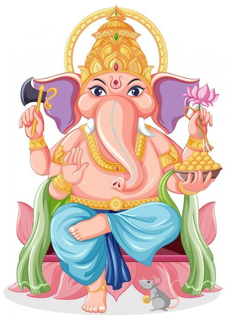 Lord ganesha in stile cartone animato Vettore gratuito
