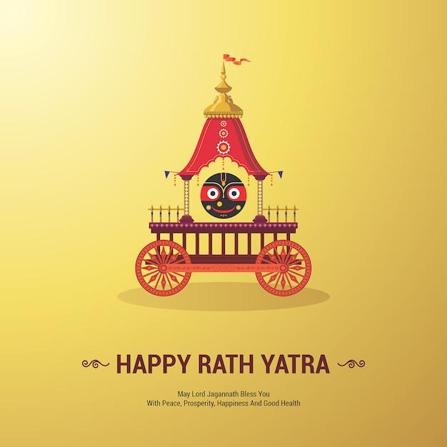 Lord jagannath festival annuale di rathayatra a odisha e gujarat. felice festa di rath yatra per le vacanze di lord jagannath, balabhadra e subhadra. Vettore Premium