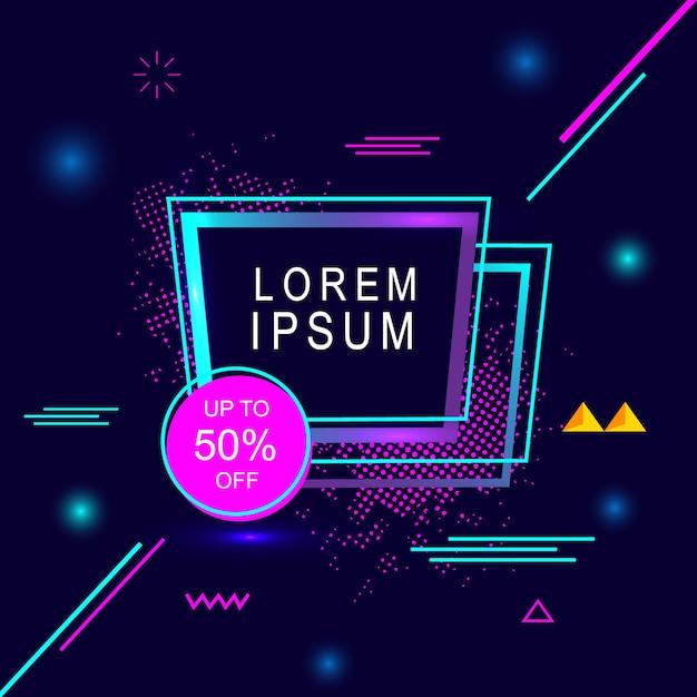 Lorem ipsum speciale flash vendita bandiera geometria creativa Vettore Premium