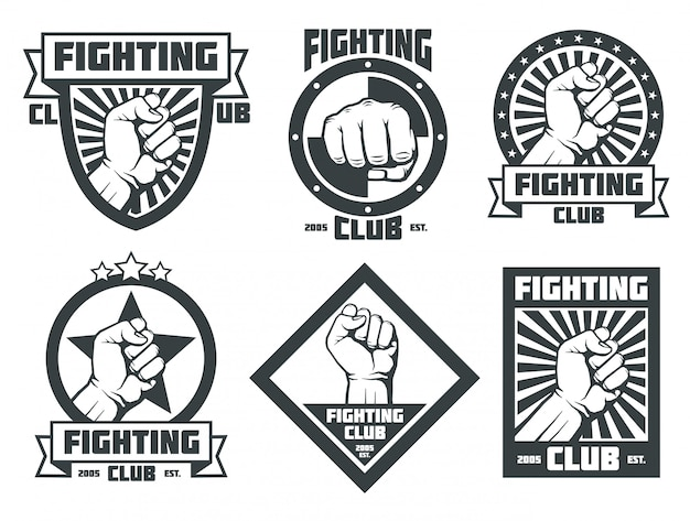 Lotta club mma lucha libre vintage emblemi etichette loghi distintivi Vettore Premium