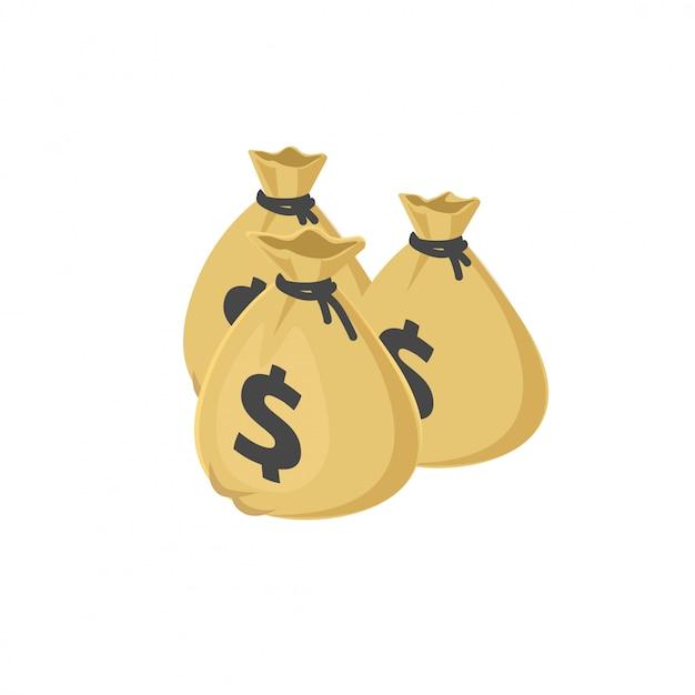 Lotti del fumetto 3d dell'illustrazione delle borse o dei sacchi dei soldi del dollaro isometrico Vettore Premium