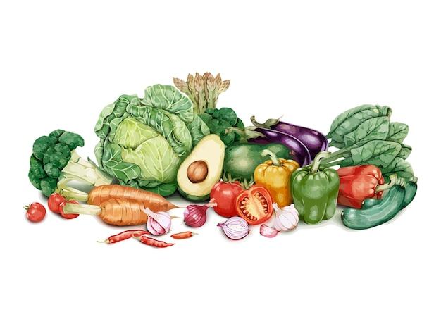Lotto disegnato a mano di verdure Vettore gratuito