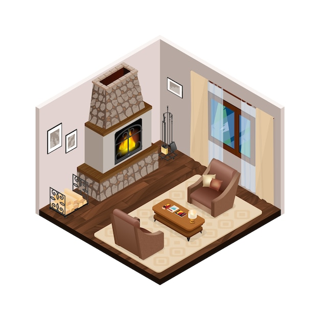 Lounge isometric interior with fireplace Vettore gratuito
