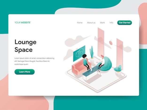 Lounge space isometric per la pagina del sito Vettore Premium