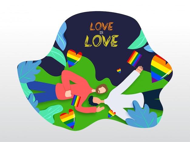 Love is love concept per la comunità lgbtq con coppia gay che stabilisce e tiene in mano la bandiera della libertà di colore arcobaleno. sfondo della natura Vettore Premium