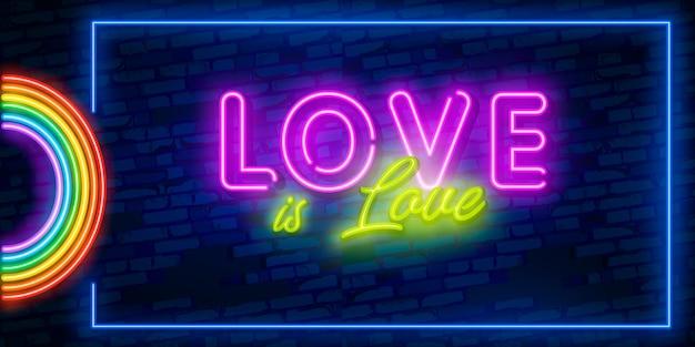 Love is love testo al neon lgbt Vettore Premium