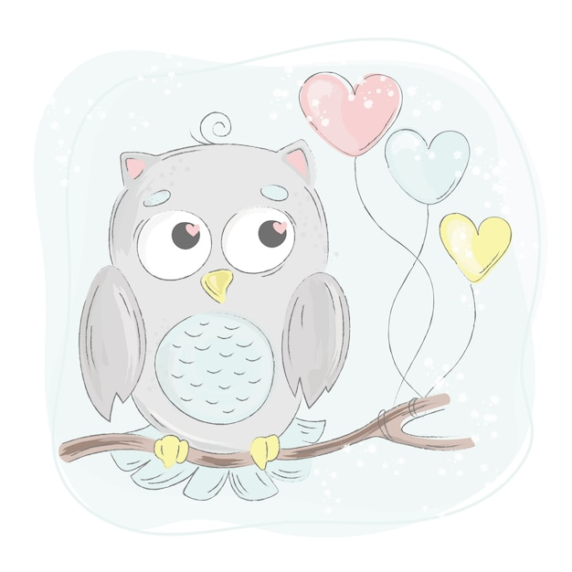 Love owl cartoon bird forest animal Vettore Premium