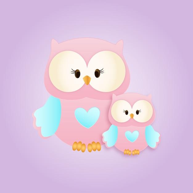 Love owls Vettore Premium