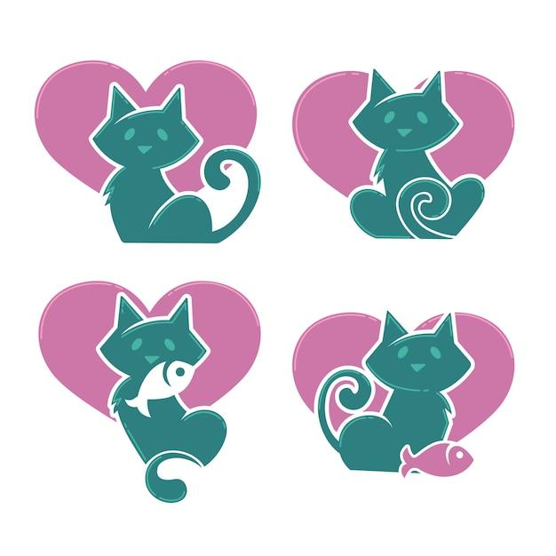 Lovely cartoon cats, i miei animali domestici preferiti, collezione vettoriale Vettore Premium