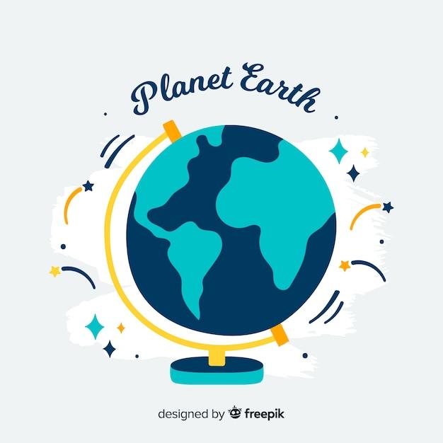Lovely pianeta terra con design piatto Vettore gratuito