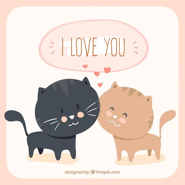 Loving gatti cartone animato scaricare vettori gratis