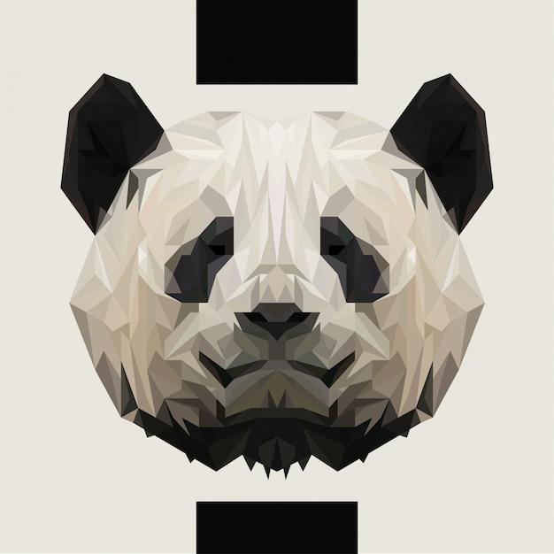 Low polygonal panda head vector Vettore Premium