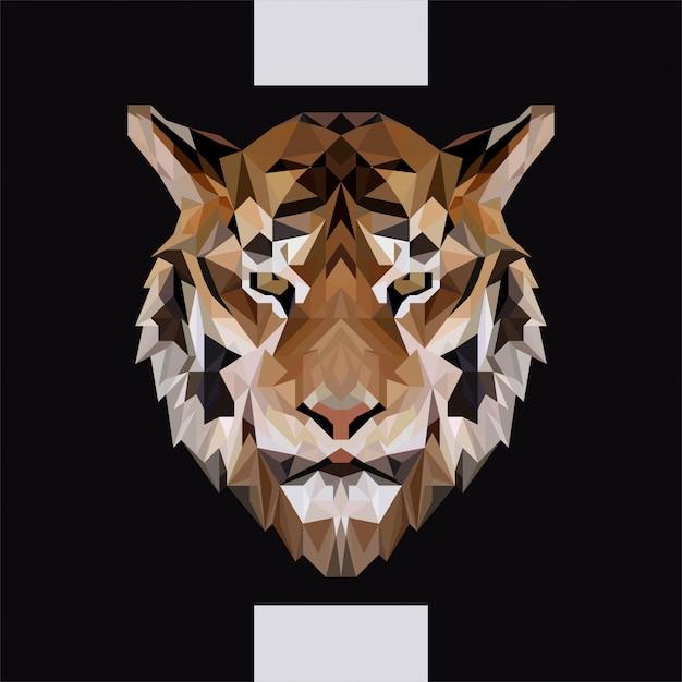 Low polygonal tiger head vector Vettore Premium