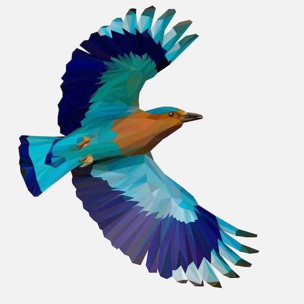 Lowpoly di indian roller bird Vettore Premium