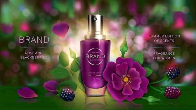 Lozione o profumo estivo con frutti di bosco, rosa Vettore gratuito