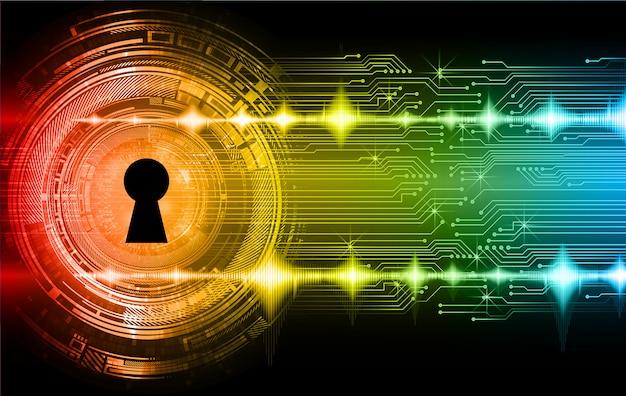 Lucchetto chiuso sfondo digitale, sicurezza informatica Vettore Premium