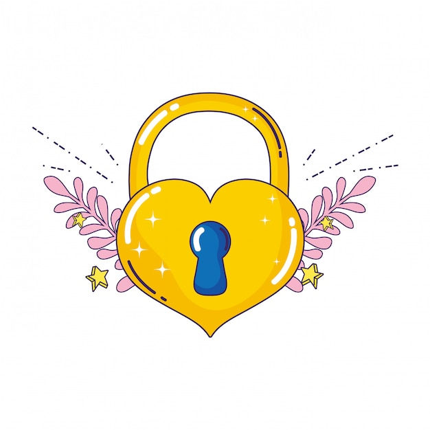 Lucchetto con cuore amore icona Vettore Premium