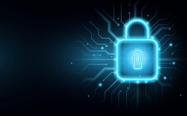 Lucchetto sul circuito con sfondo di sicurezza cyber Vettore Premium