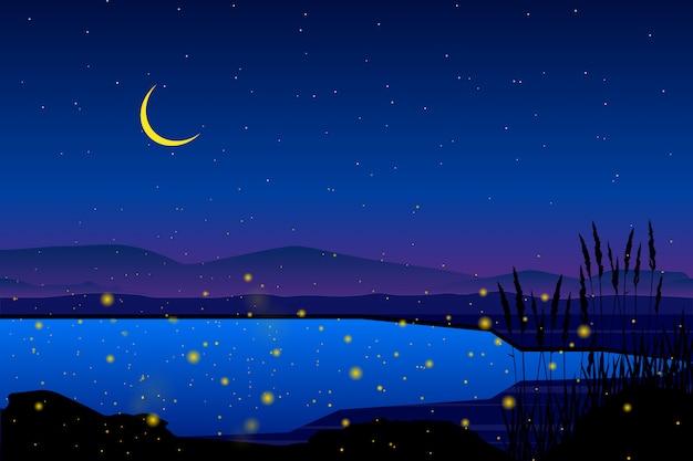 Lucciola in mare con notte stellata e cielo colorato paesaggio Vettore Premium