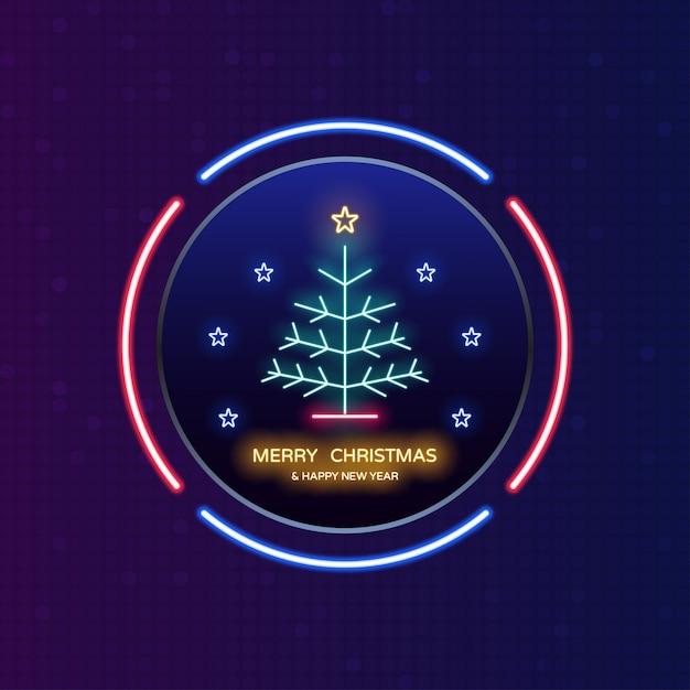 Luce al neon di buon natale e felice anno nuovo nell'etichetta del cerchio Vettore Premium