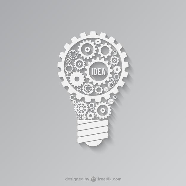 Luce bianca lampadina fatta di ingranaggi Vettore gratuito