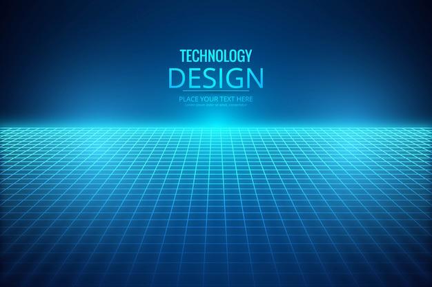 Luce blu astratta con linee tecnologia sfondo Vettore gratuito