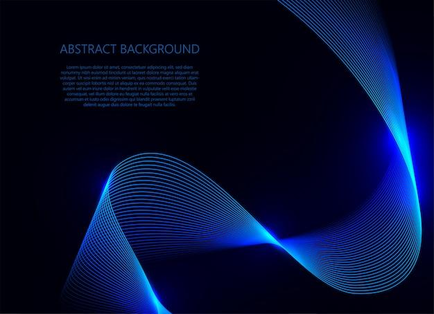 Luce blu dell'onda su fondo blu scuro Vettore Premium