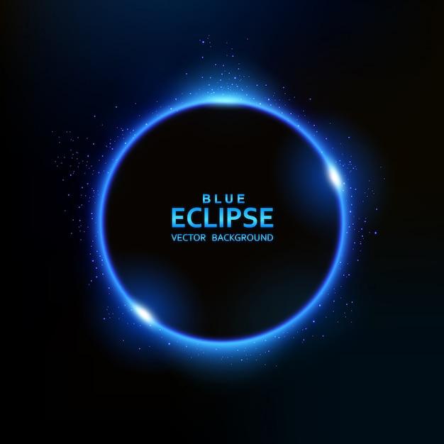 Luce blu eclissi con scintillii Vettore Premium