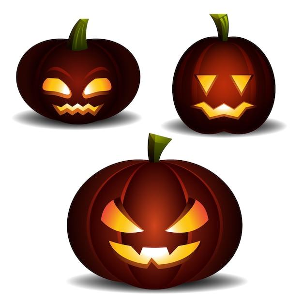 Luce di zucca arancione spaventosa di halloween. vettore piatto. Vettore Premium