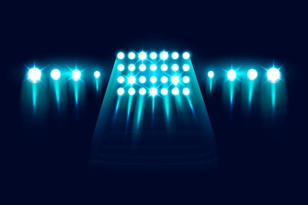 Luci dello stadio lampeggianti realistiche Vettore gratuito