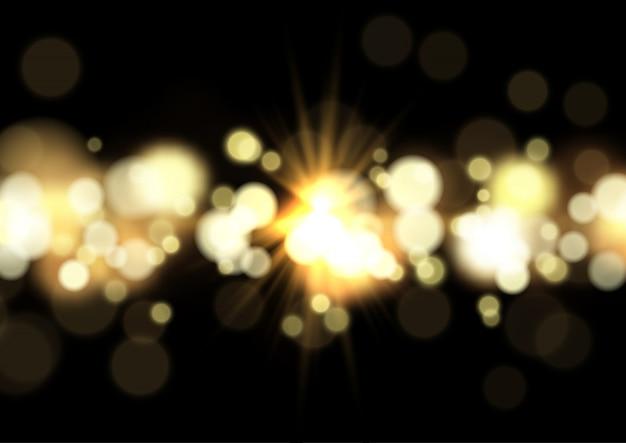 Luci di bokeh e sfondo starburst Vettore gratuito