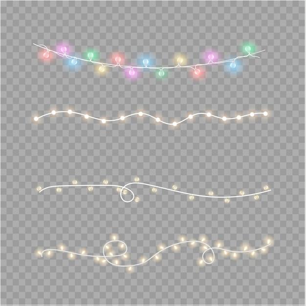 Luci di natale isolati su sfondo trasparente. ghirlanda luminosa di natale. illustrazione vettoriale Vettore Premium