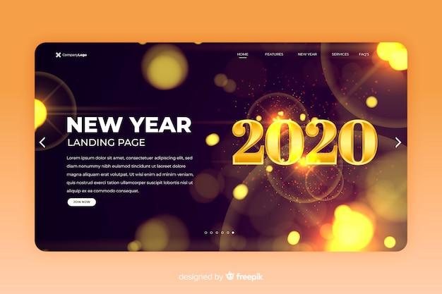 Luci di sfocatura della pagina di destinazione del nuovo anno 2020 Vettore gratuito