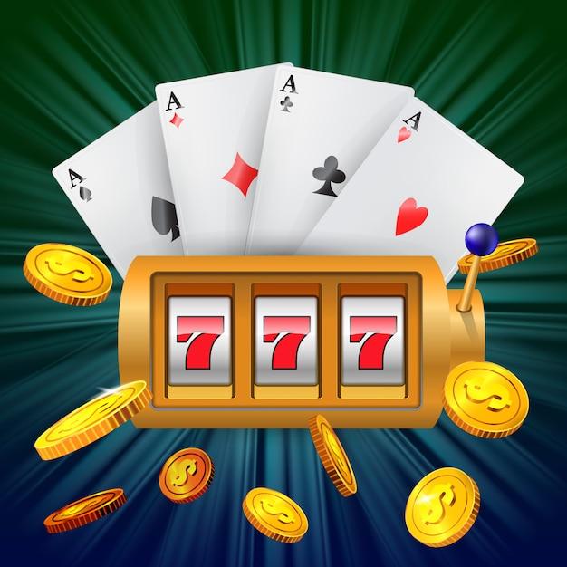 Lucky sette slot machine, quattro assi e monete d'oro in volo. Vettore gratuito
