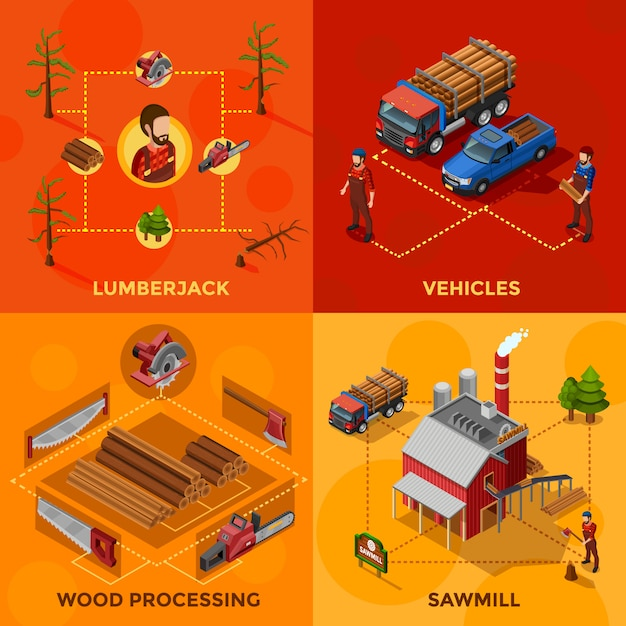 Lumberjack isometric design concept Vettore gratuito