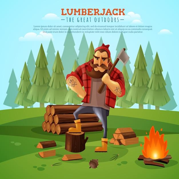 Lumberjack woodsman outdoors cartoon poster Vettore gratuito